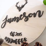 Custom Round Family Name & Established Year Sign, Wedding Gift, Anniversary Gift, Deer Sign, Hearts Sign - Fire Feather Designs