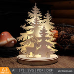Woodland Winter Christmas Decoration DIY vector project file - (Direct Download)