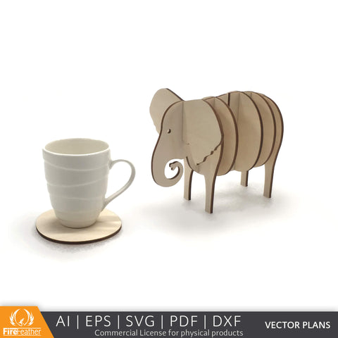 Elephant Coaster Set DIY vector project file - (Direct Download)