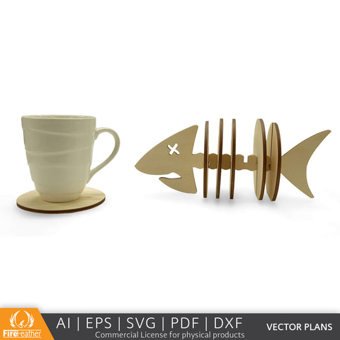 Fishbone Coaster Set DIY vector project file - (Direct Download)