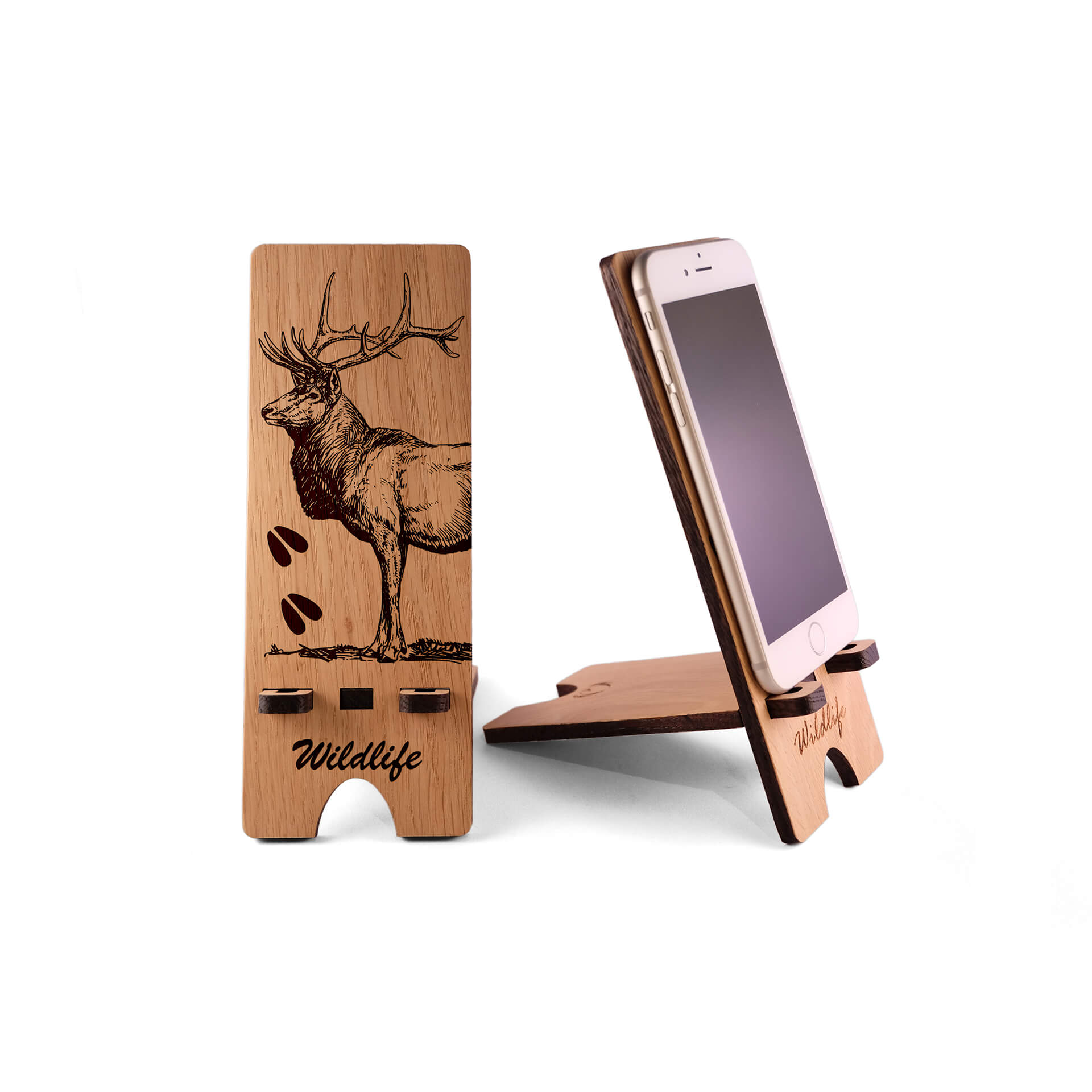 Wood iPhone Stand, Wildlife Themed Phone Stand, Wooden Docking Station - Fire Feather Designs