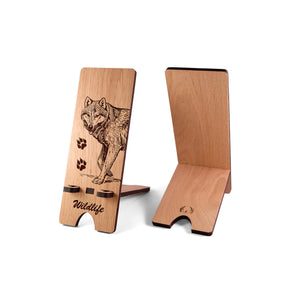 Wood iPhone Stand, Wildlife Themed Phone Stand, Wooden Docking Station