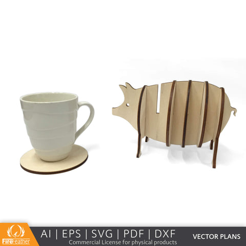 Piggy Coaster Set DIY vector project file - (Direct Download)