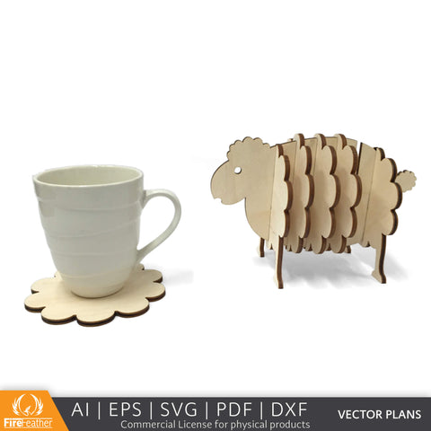 Sheep Coaster Set DIY vector project file - (Direct Download)