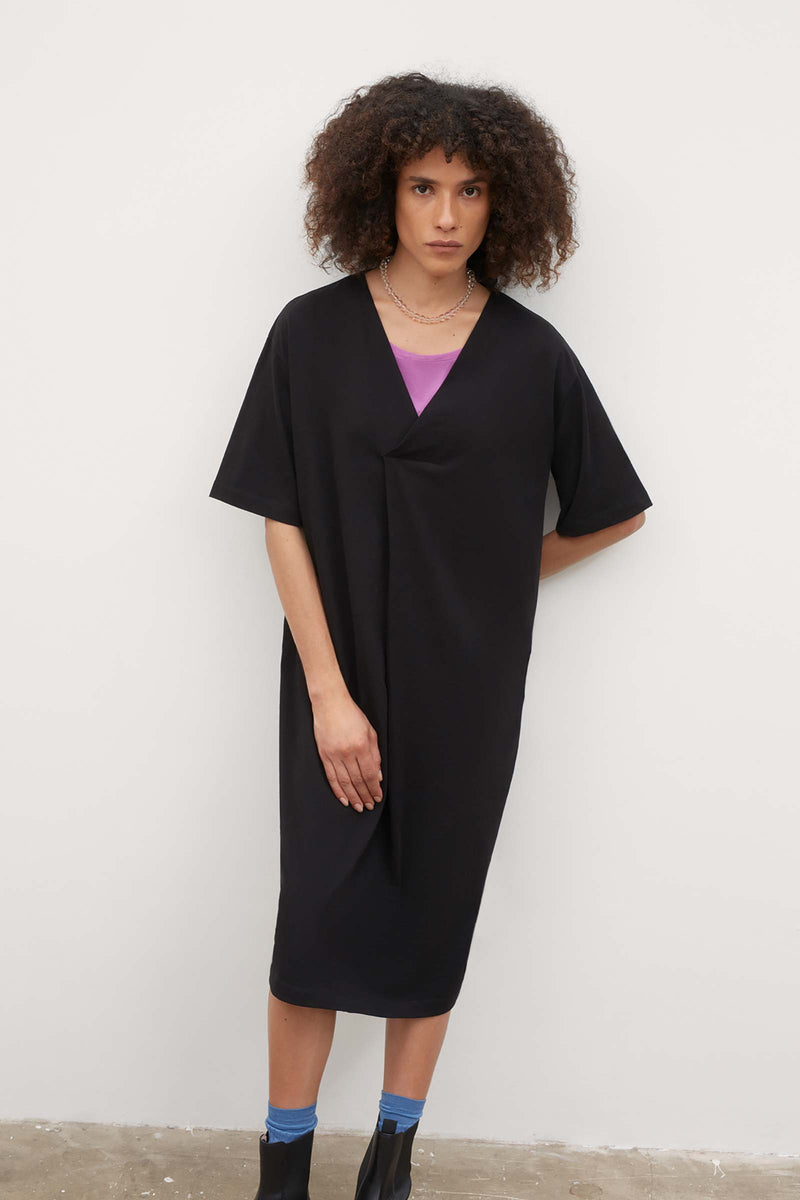 V Neck Pleat Dress