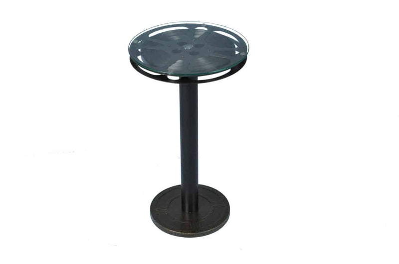 "Steel Movie Reel End Table 12"" Top"