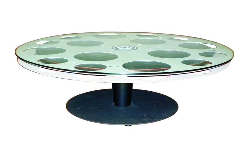 "Cast Aluminum Film Reel Coffee Table 30"" Top"