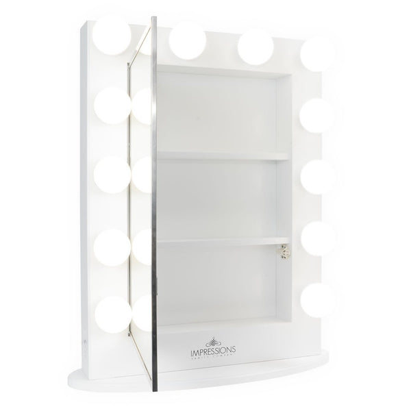 Reveal Mirror with Lightbulbs and Cabinet Storage