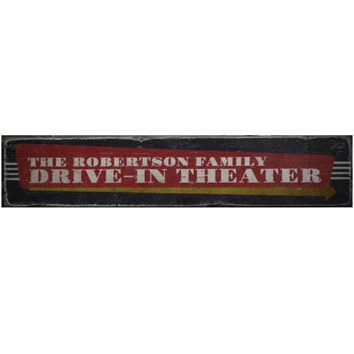 Family Drive-In Theater Sign Rustic Wood Horizontal