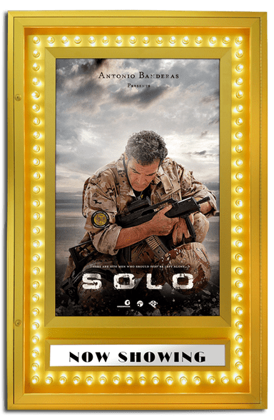 Premiere Movie Poster Case with Chase Lights - Satin Gold