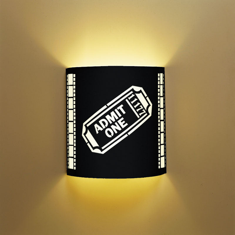 SILVER Admit One Movie Ticket Home Theater Wall Sconce with Filmstrip