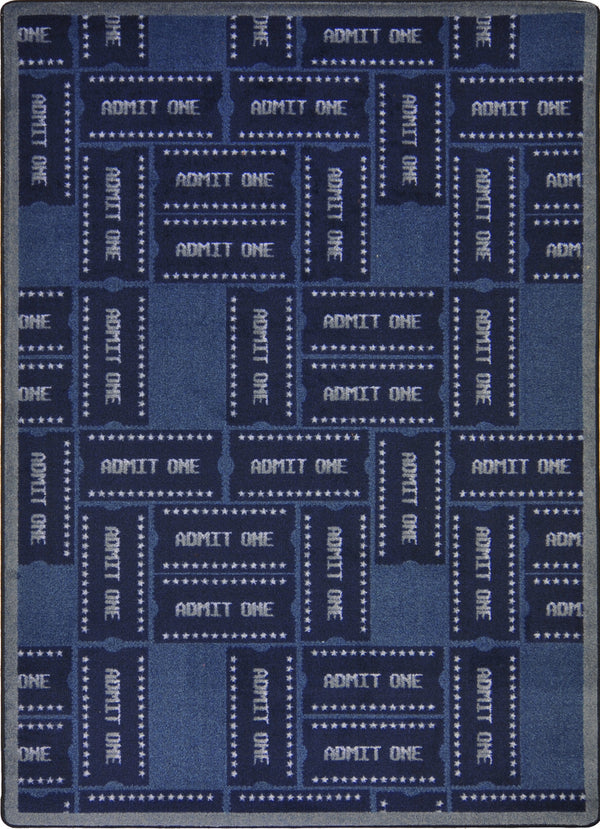 Admit One Home Theater Rug Blue