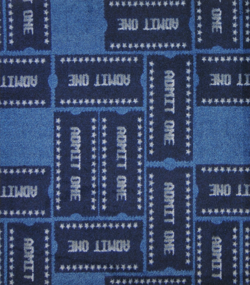 Admit One Home Theater Carpet Blue