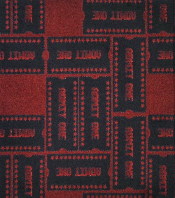Admit One Home Theater Carpet Burgundy