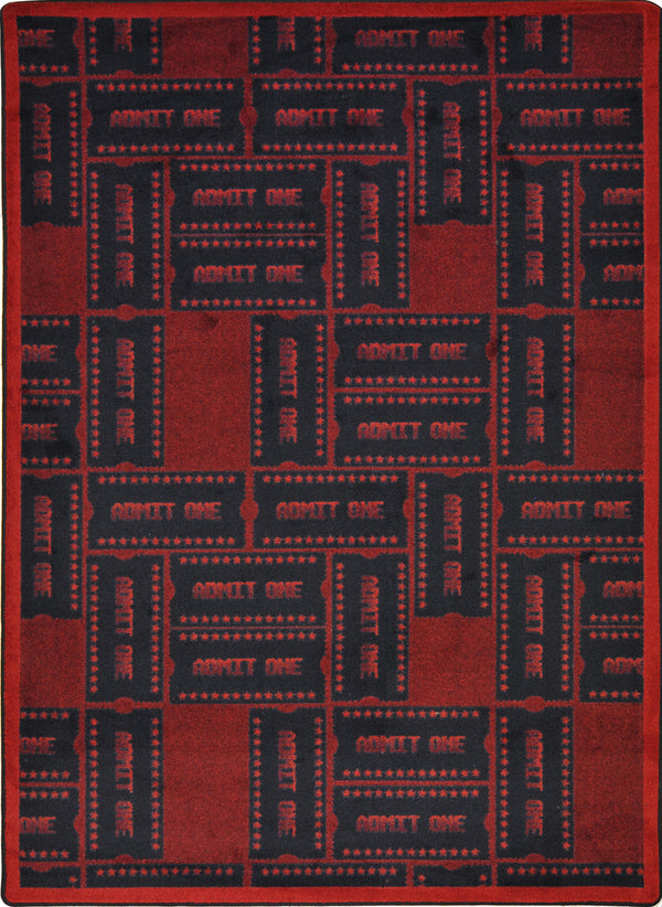 Admit One Home Theater Rug Burgundy