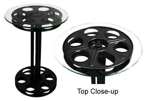 Black Movie Reel Accent Table
