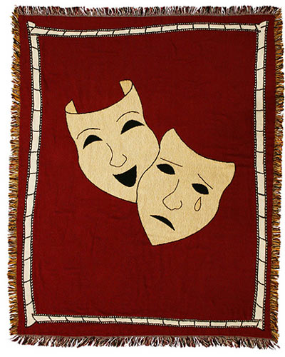 Comedy/Tragedy Masks Theater Throw Blanket