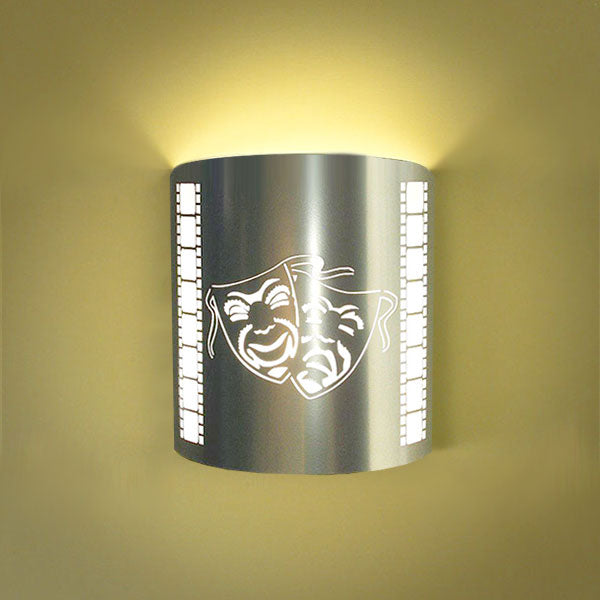 Comedy/Tragedy Masks Home Theater Wall Sconce Silver with Filmstrip