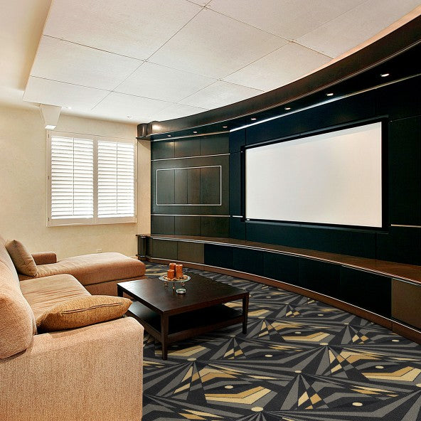 Deco Strobe Home Theater Carpet Brown