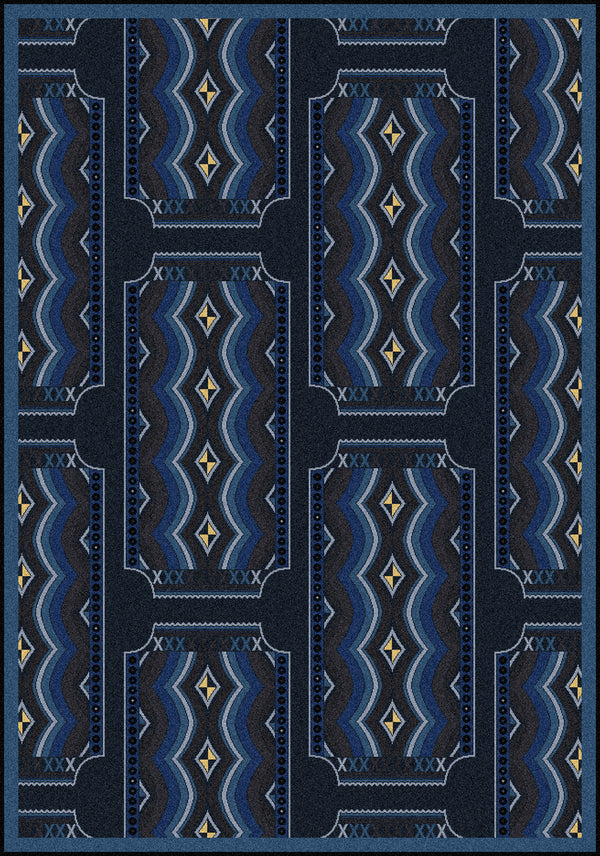 Deco Ticket Home Theater Rug Blue