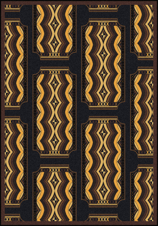 Deco Ticket Home Theater Rug Brown