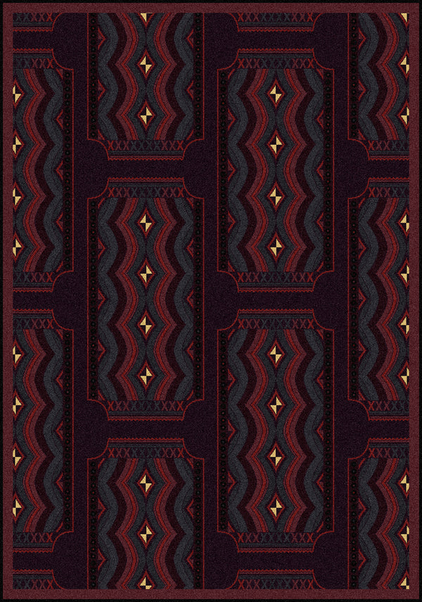 Deco Ticket Home Theater Rug Burgundy