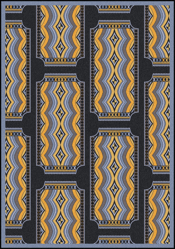 Deco Ticket Home Theater Rug Charcoal