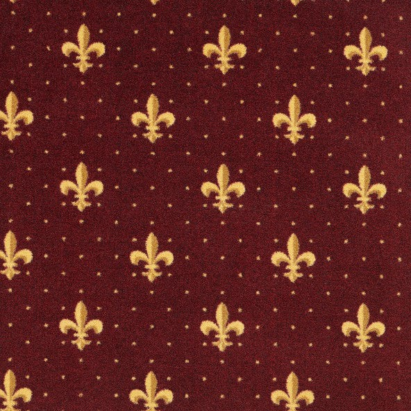 Fleur De Lis Home Theater Carpet Burgundy