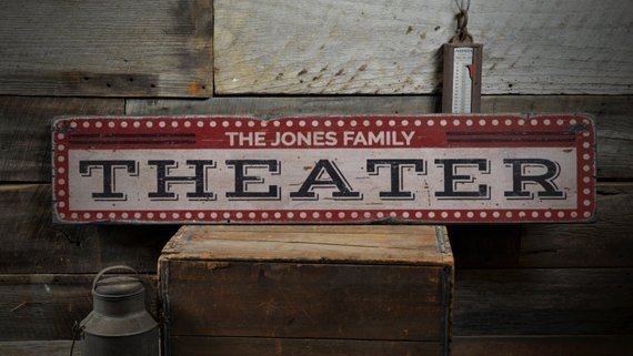 Family Home Theater Sign Rustic Wood Horizontal