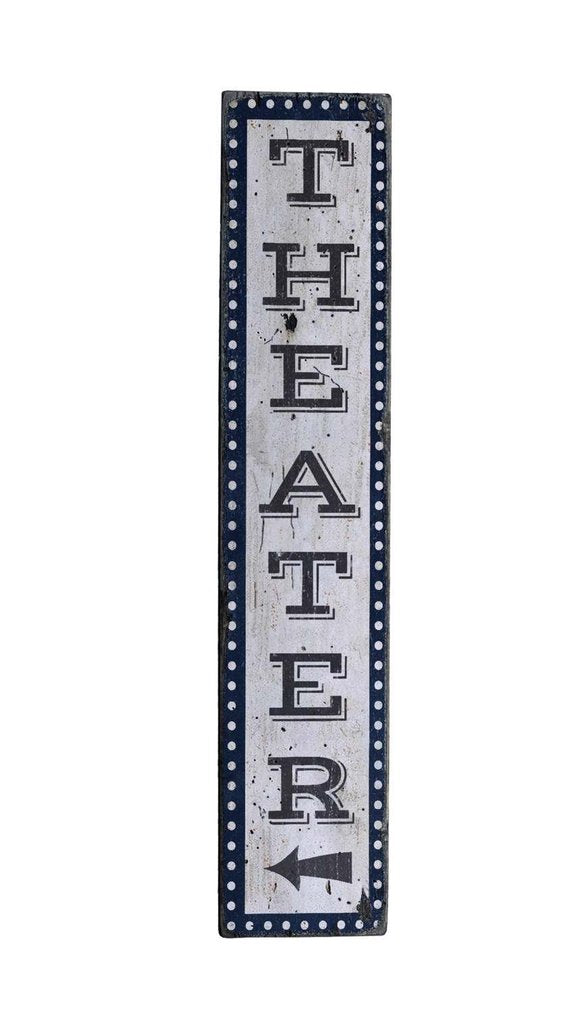 Wood Home Theater Sign Vertical