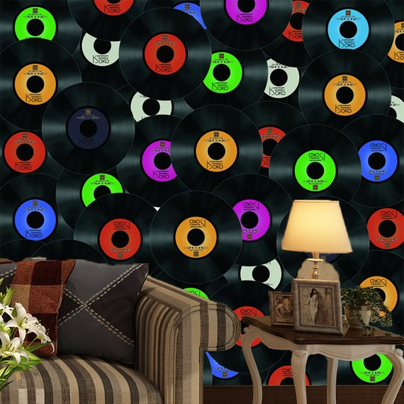 Vinyl Records Home Theater Wall Mural