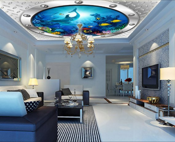Ship Window Home Theater Ceiling Mural