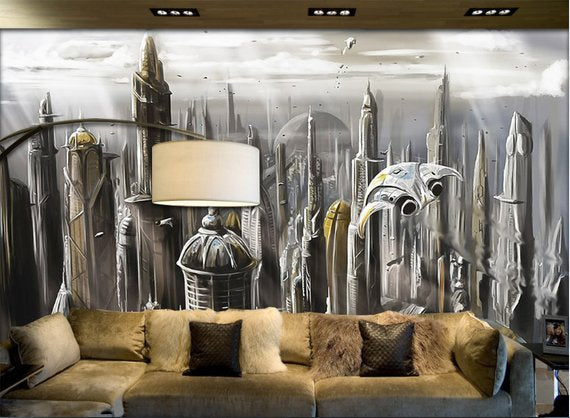 Fantasy City Home Theater Wall Mural