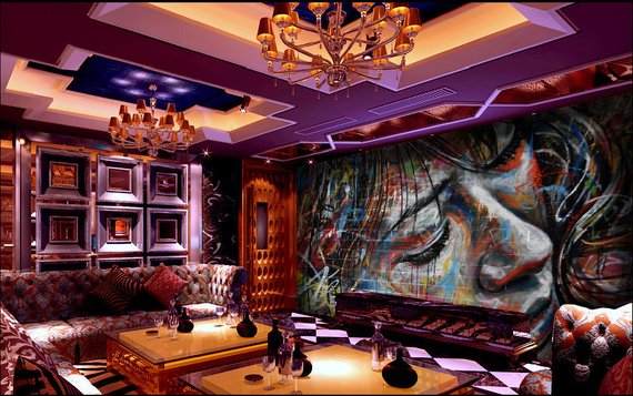 Graffiti Girl Home Theater Wall Mural