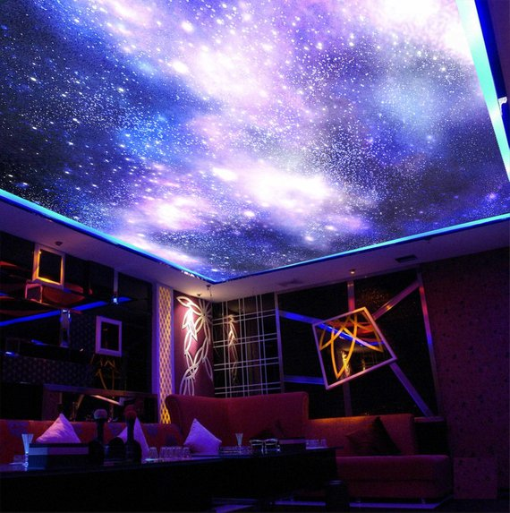 Purple Sky Home Theater Ceiling Mural