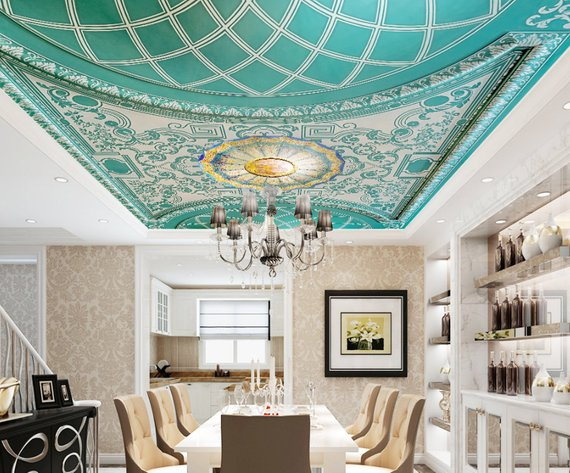Royal Green Home Theater Ceiling Mural