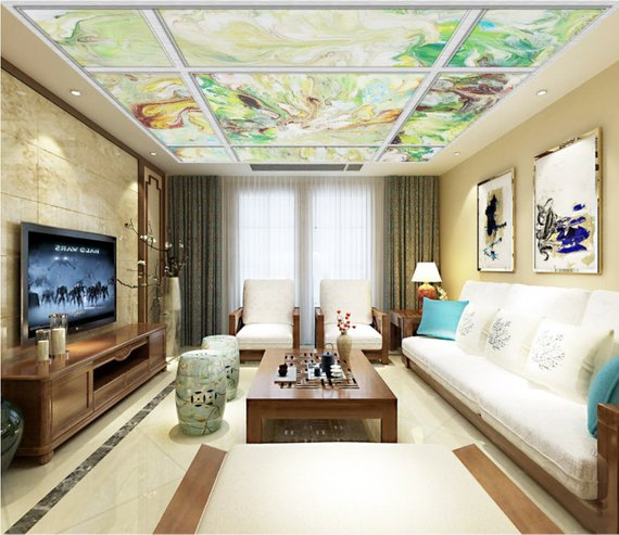 Colors Grid Home Theater Ceiling Mural