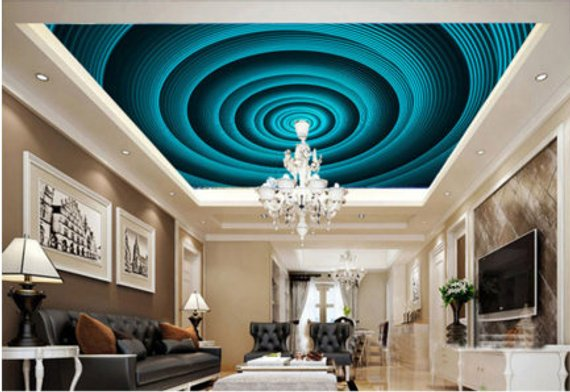 Swirl Home Theater Ceiling Mural