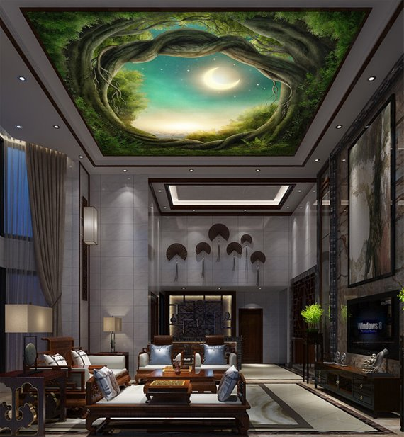Moon Over Tree Home Theater Ceiling Mural