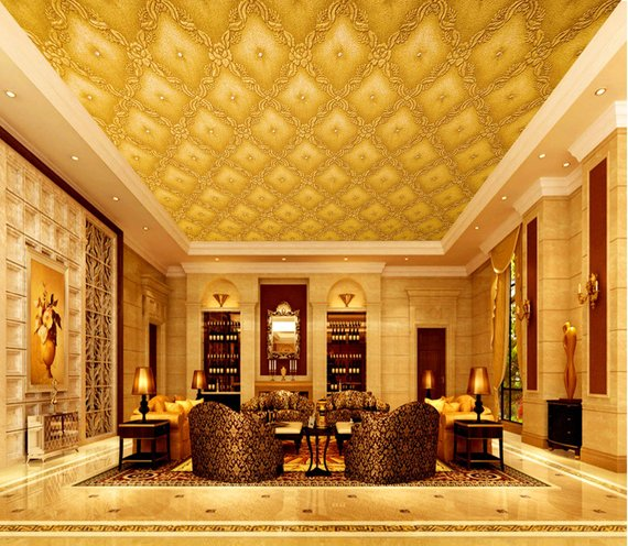 Gold Vintage Home Theater Ceiling Mural