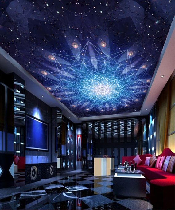 Blue Light Home Theater Ceiling Mural
