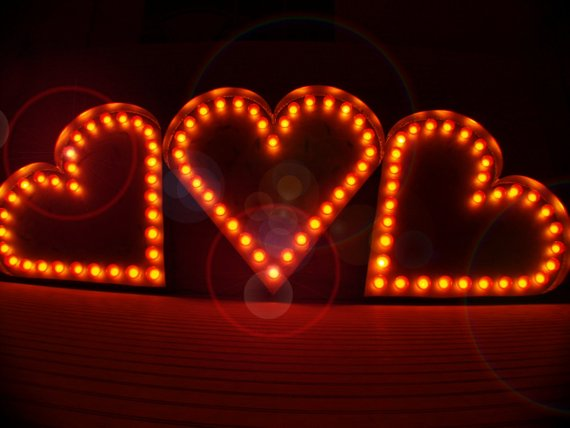 Light Up Heart Shaped Home Theater Marquee