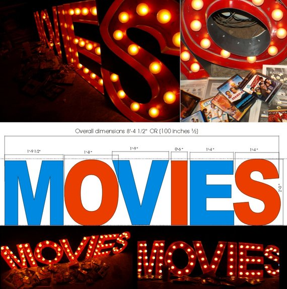 MOVIES Light Up Home Theater Marquee