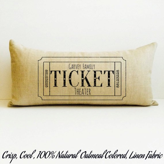Personalized Movie Ticket Home Theater Pillow