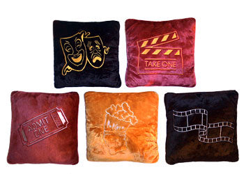 "Plush Home Theater Pillows 15"" x 15"" Designs"
