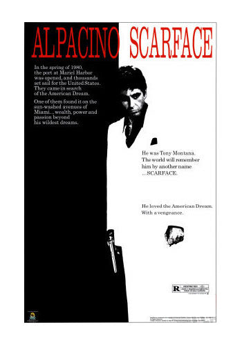 Scarface Movie Poster Black and White