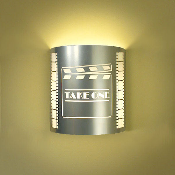 Take One Clapboard Home Theater Wall Sconce Silver with Filmstrip