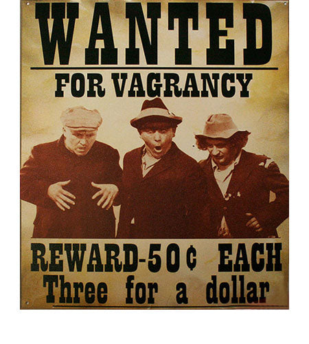The Three Stooges Wanted Metal Sign Artwork