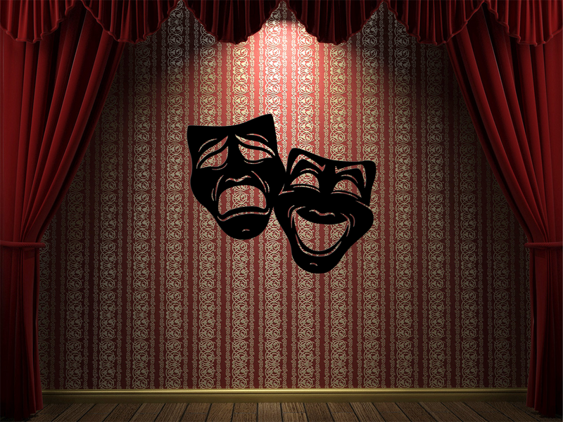 Comedy/Tragedy Masks Metal Wall Decor