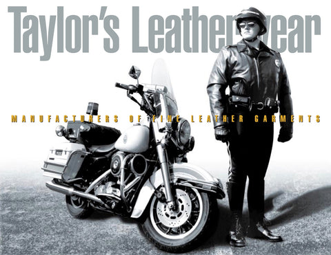 taylors leather police motorcycle leather jacket
